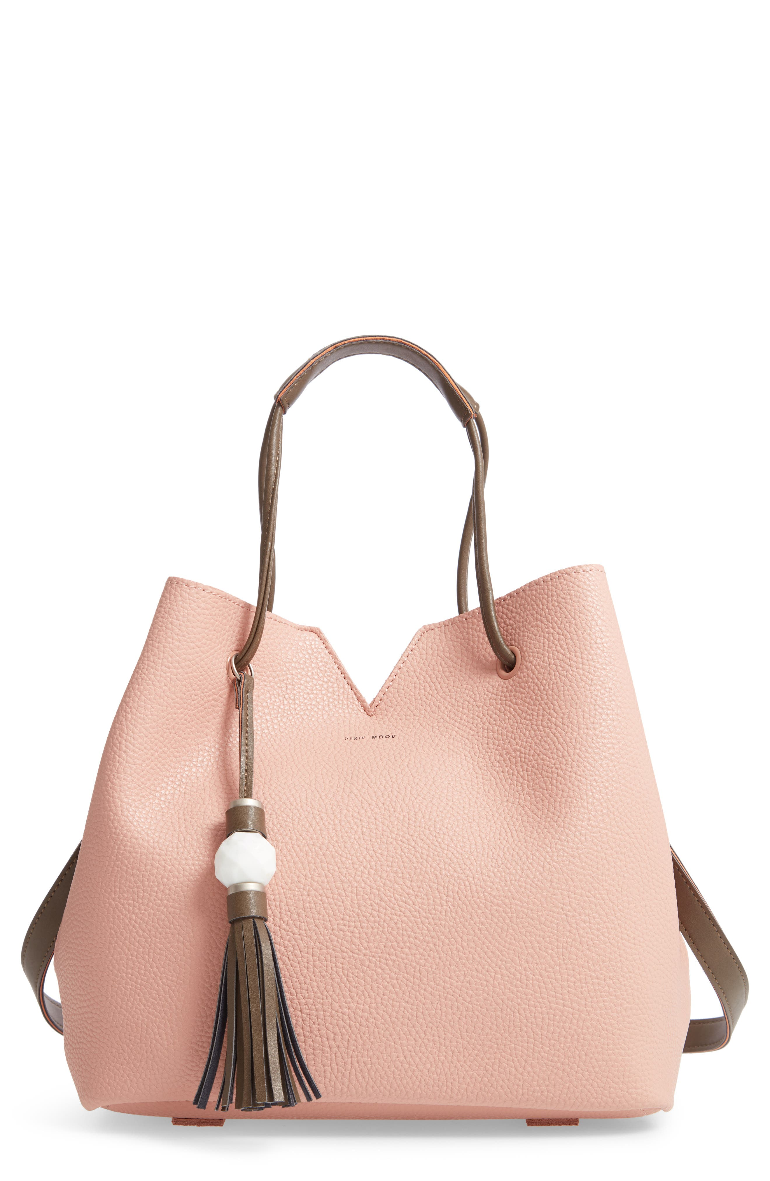 Jasmine Faux Leather Hobo,                             Main thumbnail 1, color,                             Dusty Pink