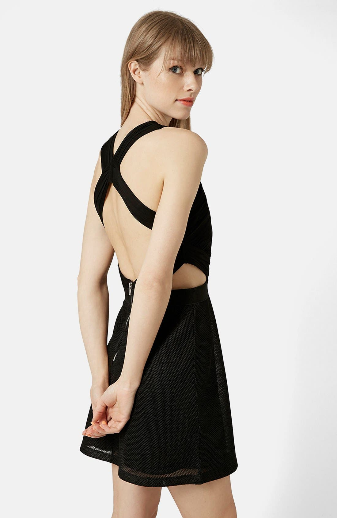 Halter Skater Dress,                             Alternate thumbnail 2, color,                             Black