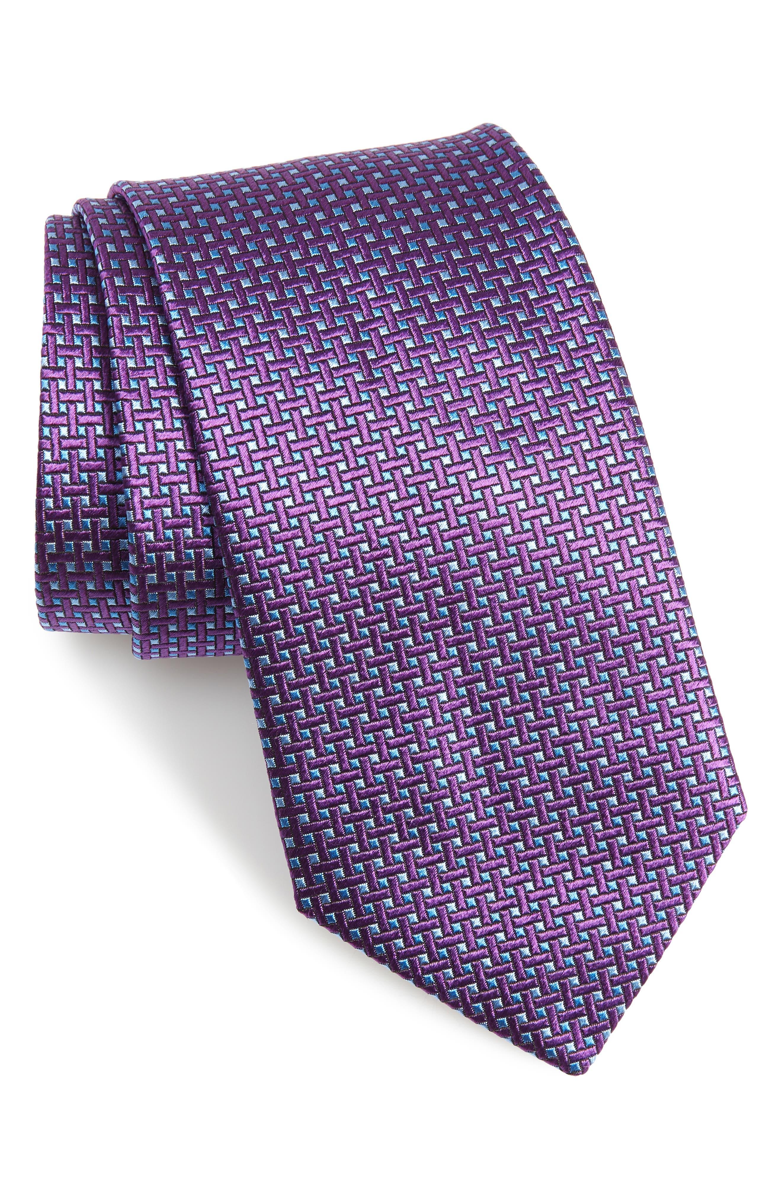 Geometric Silk X-Long Tie,                             Main thumbnail 1, color,                             Purple