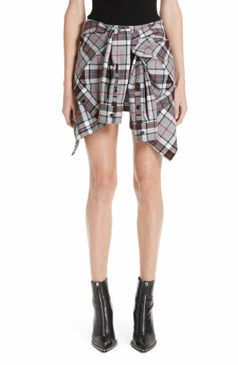Alexander Wang Tie Front Plaid Wool Skorts by ALEXANDER WANG