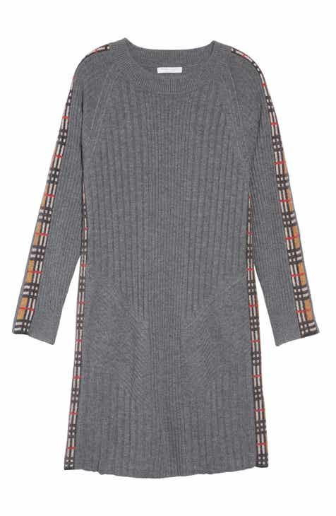 Burberry Kids Cathina Check Detail Wool   Cashmere Sweater Dress (Little  Girls   Big Girls) 00de13a5def