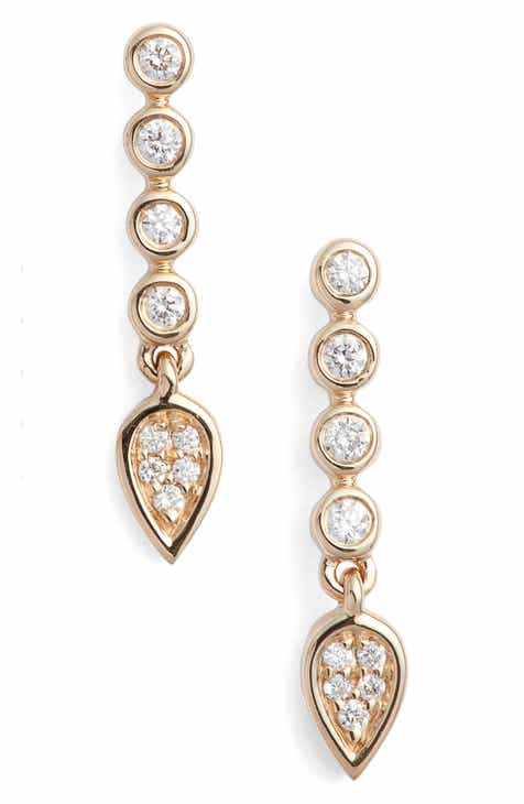 Dana Rebecca Designs Bezel Diamond Linear Drop Earrings