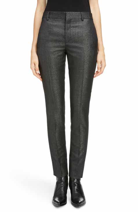 Saint Laurent Metallic Stretch Wool Slim Pants by SAINT LAURENT