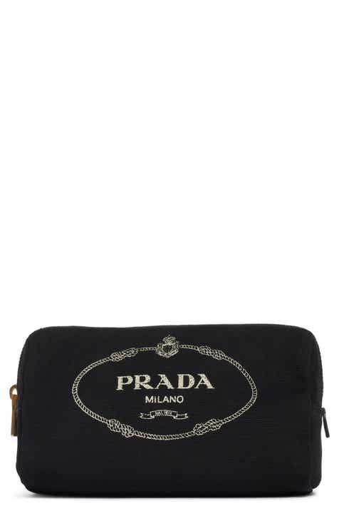 40a322f01762 Prada Logo Canvas Cosmetic Pouch