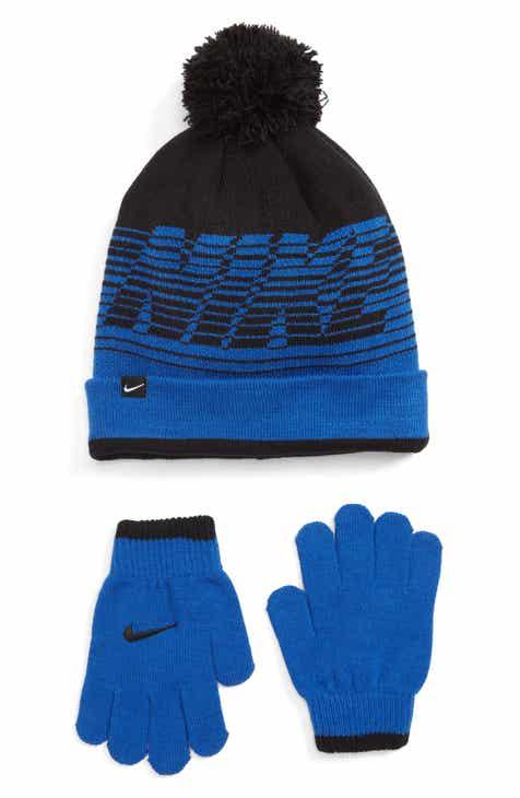 Nike Stripe Pom Beanie   Gloves Set (Big Boys) cb05c5ad83f3