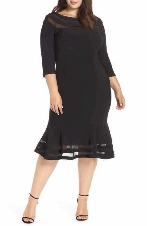 Xscape Flounce Midi Dress (Plus Size)