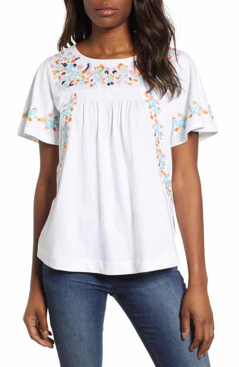 3e3daf04 Caslon® Embroidered Tee (Regular & Petite)
