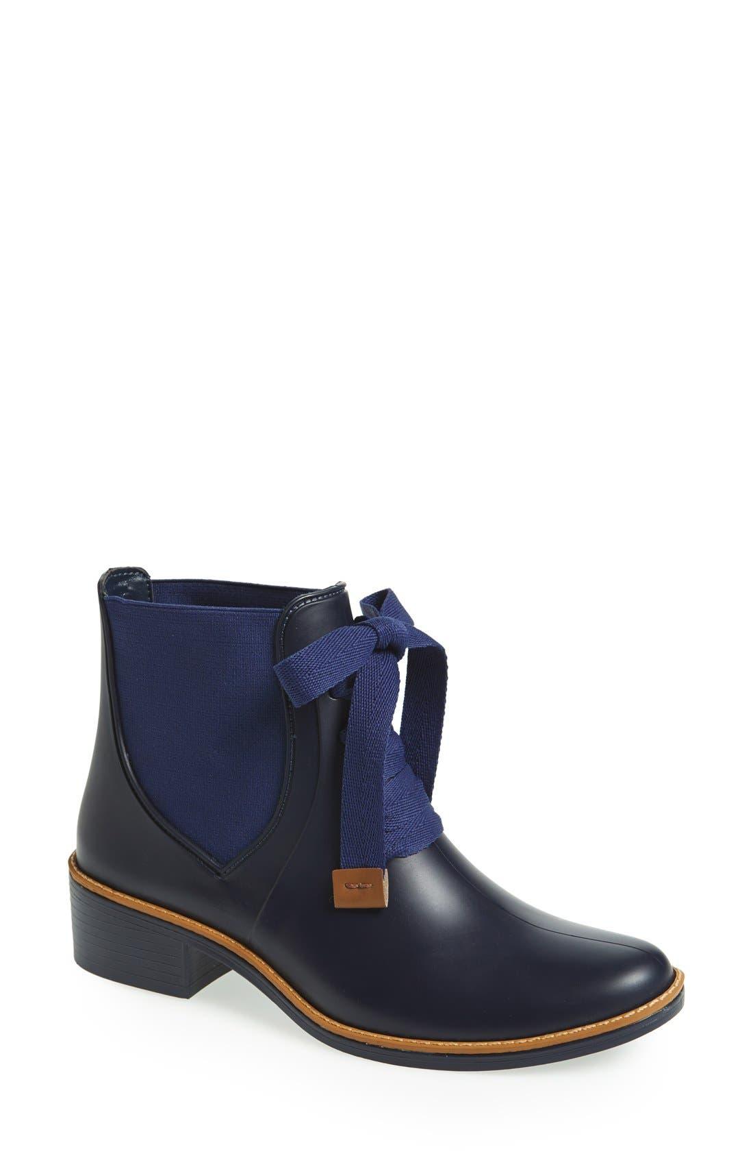 Bernardo Lacey Short Waterproof Rain Boot,                         Main,                         color, Navy