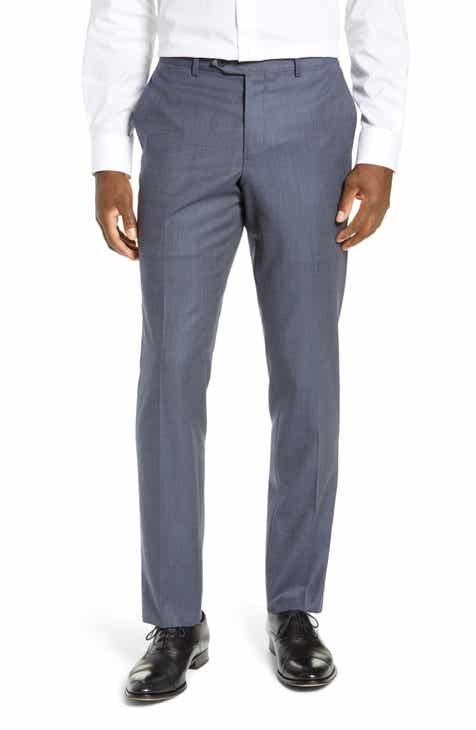 Nordstrom Men's Shop Trim Fit Flat Front Stretch Wool Trousers