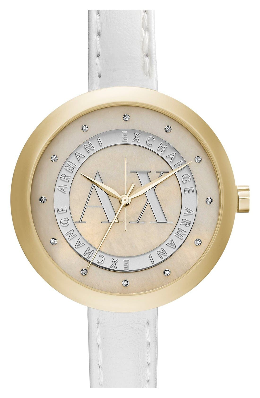 Main Image - AX Armani Exchange Crystal Index Logo Dial Watch, 40mm