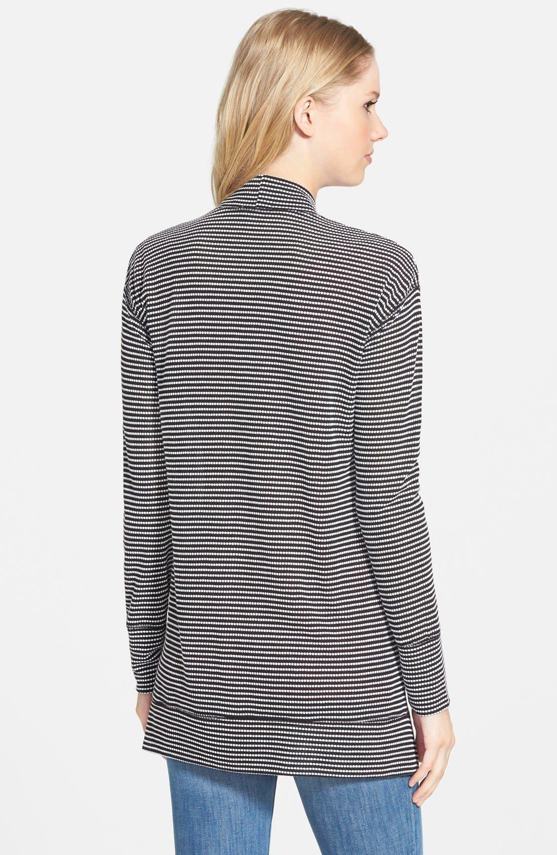 Stripe Long Sleeve Open Front Cardigan,                             Alternate thumbnail 2, color,                             Black- White