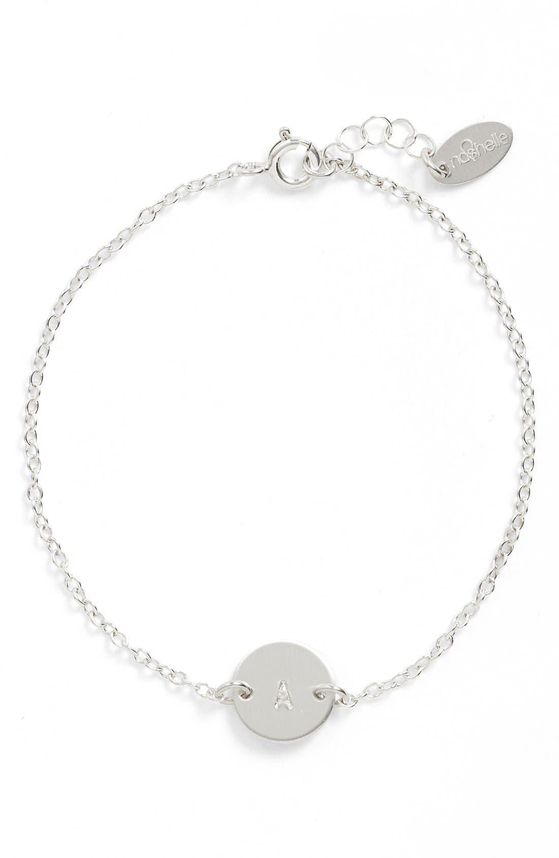 Nashelle Sterling Silver Mini Initial Disc Bracelet