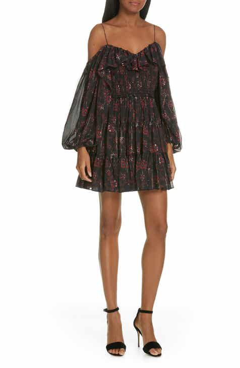 529073c73bc Ulla Johnson Monet Metallic Floral Cold Shoulder Silk Blend Dress
