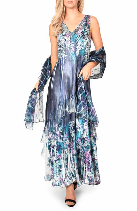 07eacde511 Komarov Lace-Up Back Evening Dress with Wrap