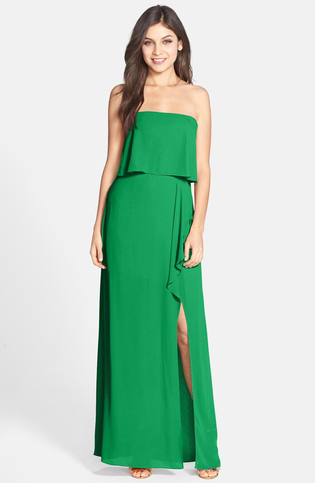 Alternate Image 1 Selected - BCBGMAXAZRIA 'Felicity' Georgette Popover Gown