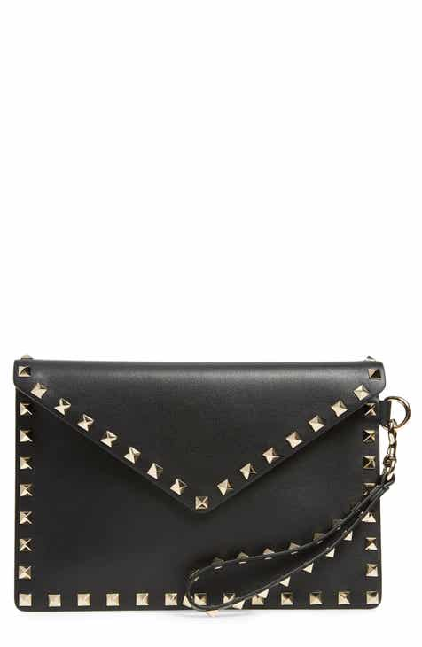Valentino Garavani Medium Rockstud Calfskin Leather Pouch