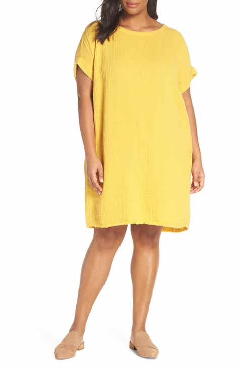9f5549f6077ab Eileen Fisher Textured Organic Cotton Shift Dress (Plus Size)