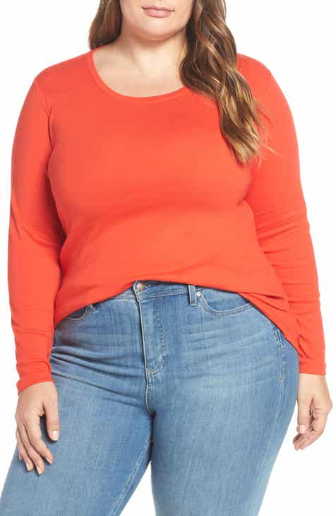 2ef6e0bcad5 Caslon® Long Sleeve Scoop Neck Cotton Tee (Plus Size)