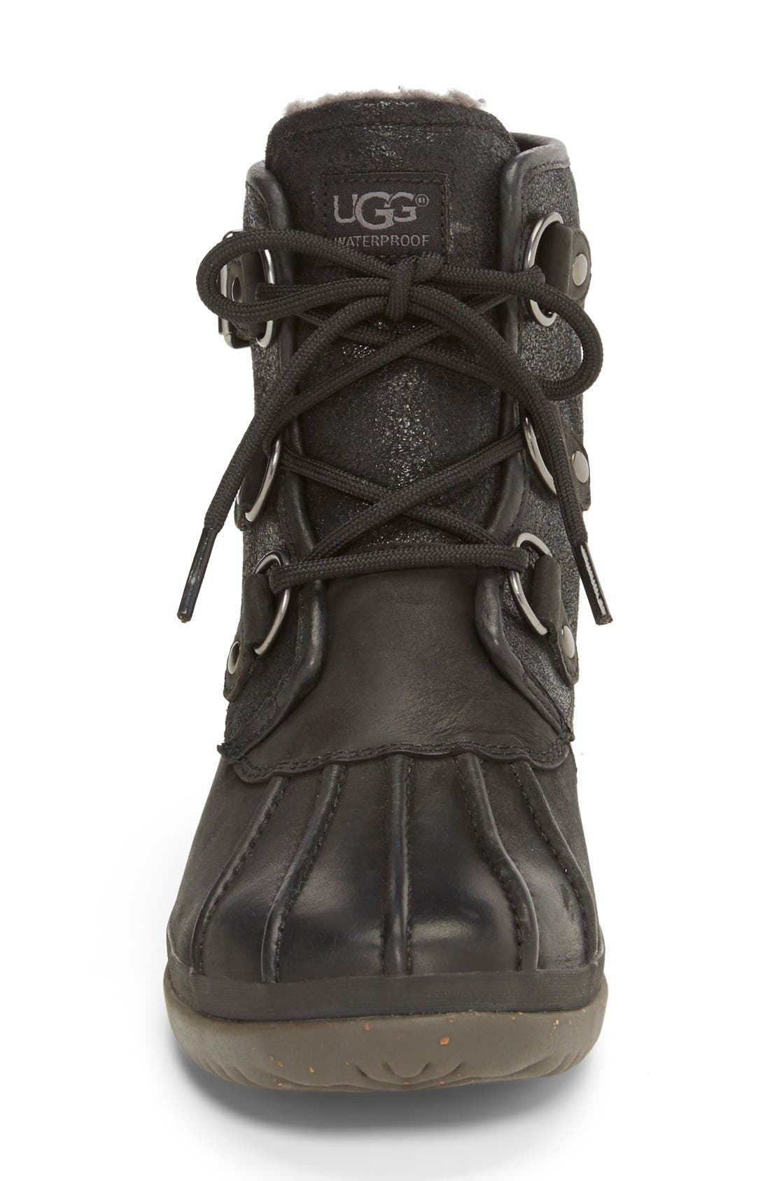 Cecile Waterproof Boot,                             Alternate thumbnail 3, color,                             Black Leather