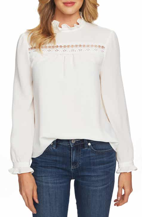 a596381a40 CeCe Ruffle Neck Lace Detail Blouse