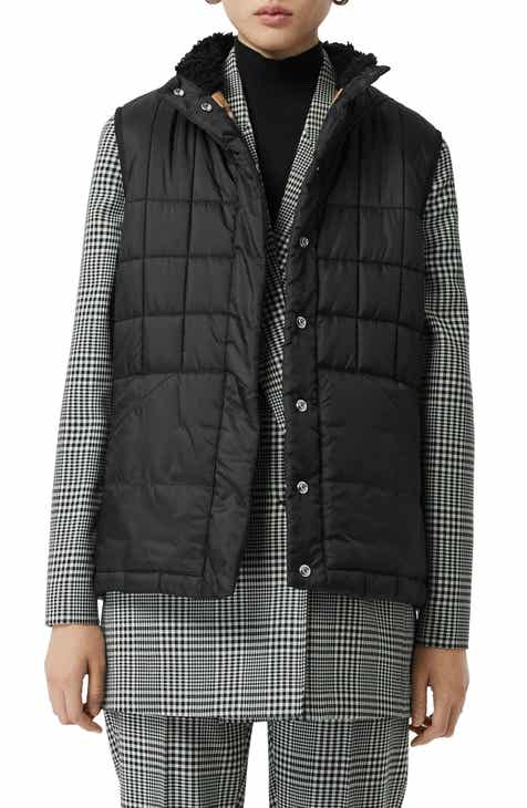 9f2fa5c2cd773 Burberry Leintune Faux Shearling Trim Quilted Vest