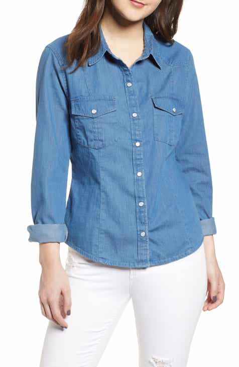 a6a5d09b4eb Fitted Chambray Shirt (Regular   Plus Size)