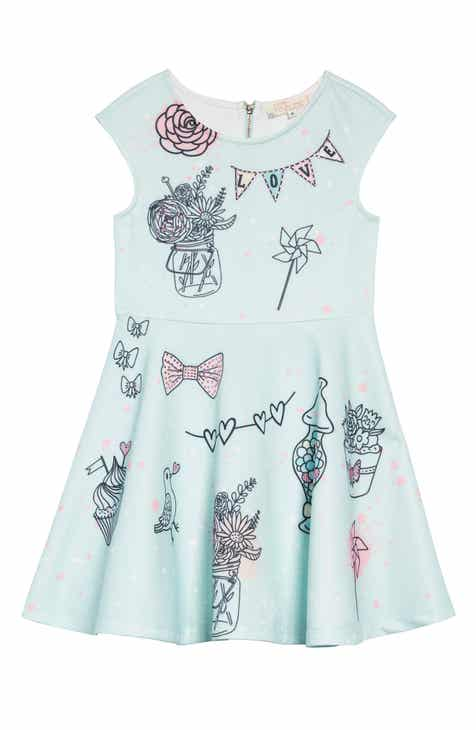 Truly Me Whimsy Embellished Fit & Flare Dress (Toddler Girls & Little Girls)