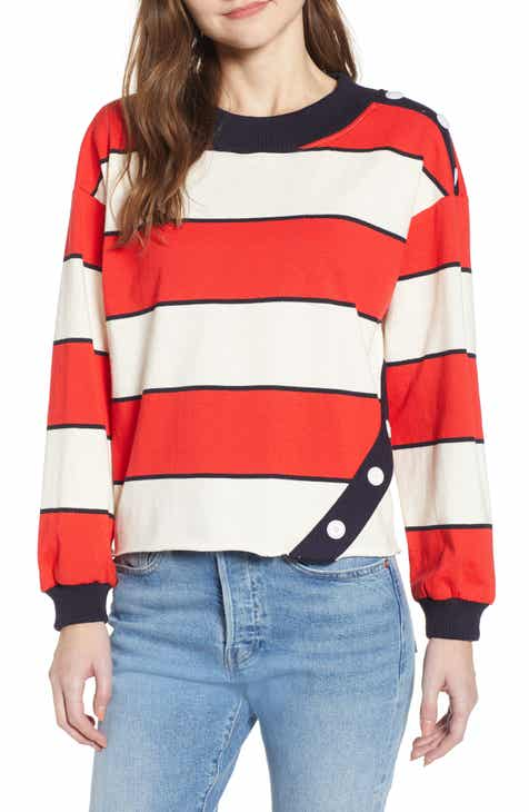 ad6d4d7561 MOON RIVER Stripe Cutoff Sweatshirt