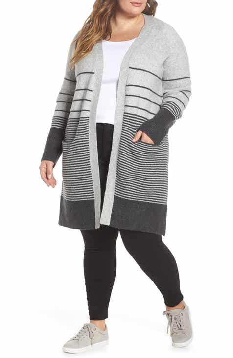 59547e2bfc194 Lucky Brand Stripe Long Open Cardigan (Plus Size)