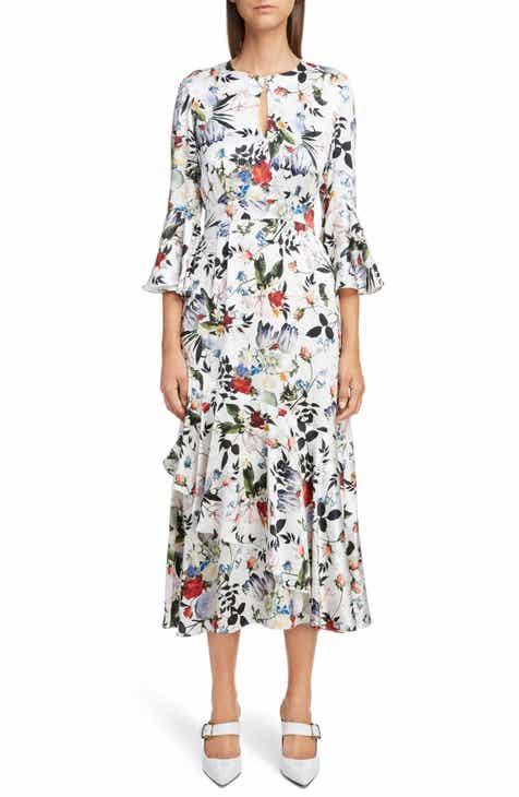 Erdem Floral Silk Satin Frill Midi Dress by ERDEM