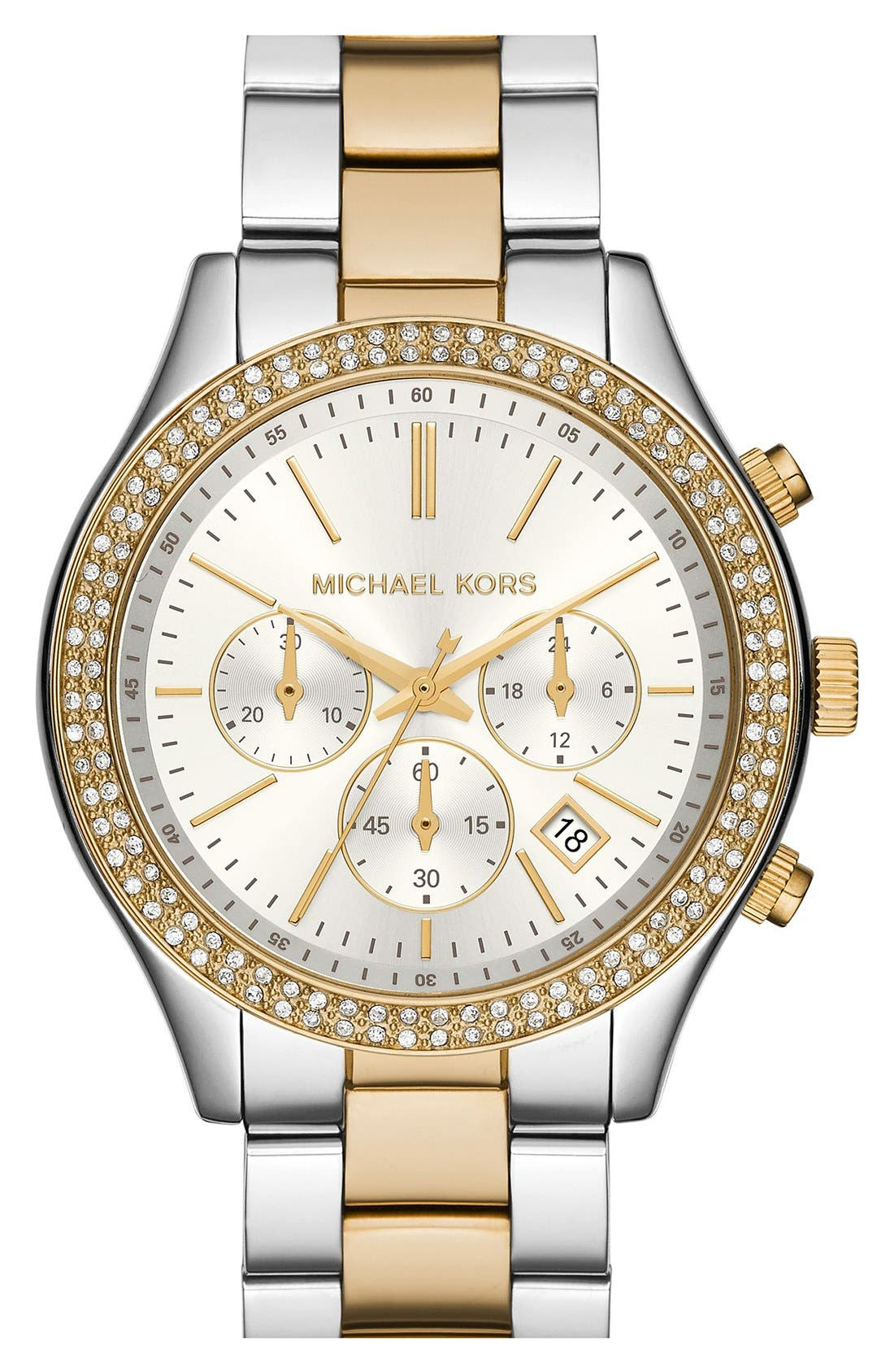 Alternate Image 1 Selected - Michael Kors 'Slim Runway' Crystal Bezel Chronograph Bracelet Watch, 42mm (Nordstrom Exclusive)
