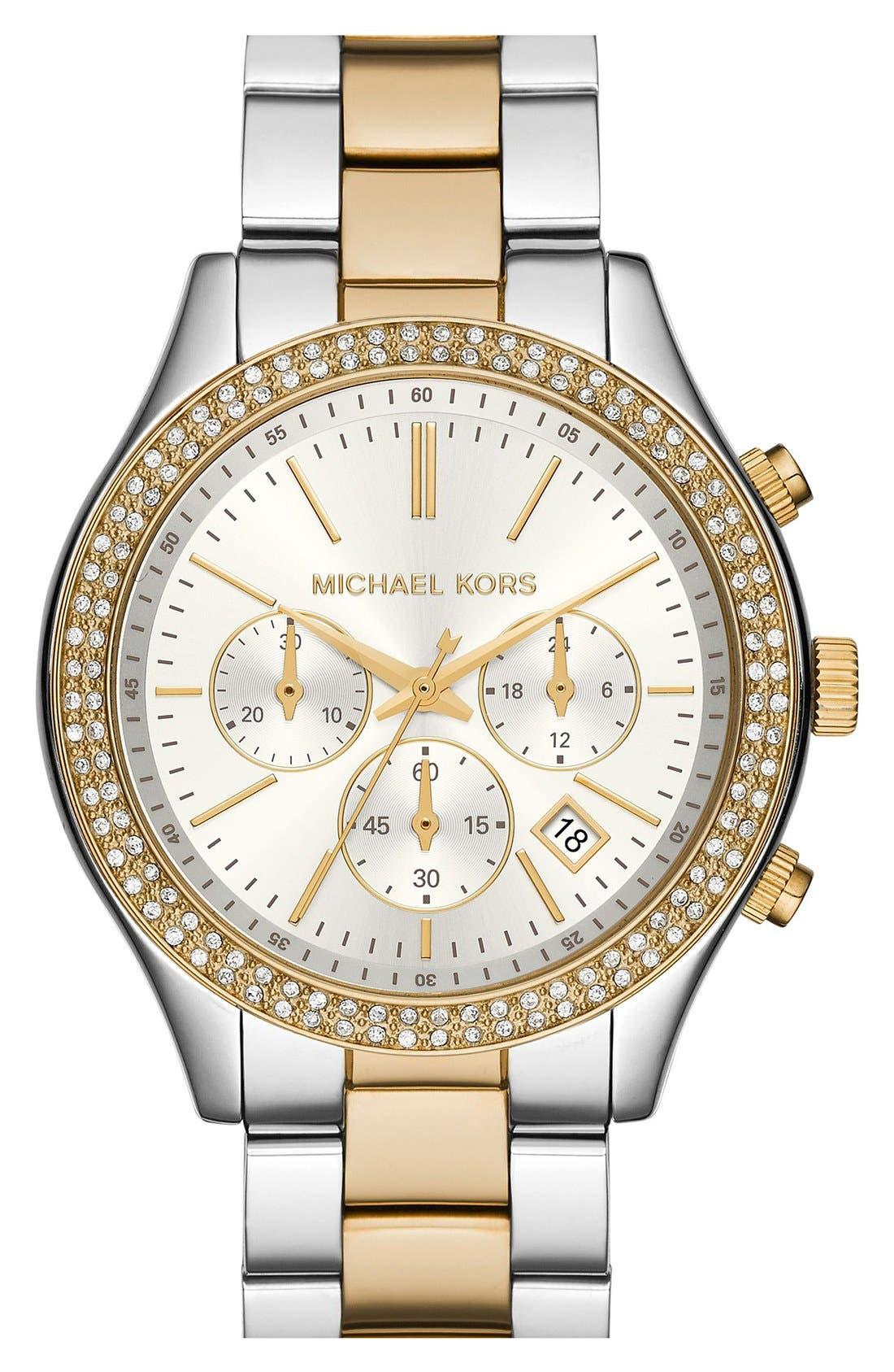 Main Image - Michael Kors 'Slim Runway' Crystal Bezel Chronograph Bracelet Watch, 42mm (Nordstrom Exclusive)