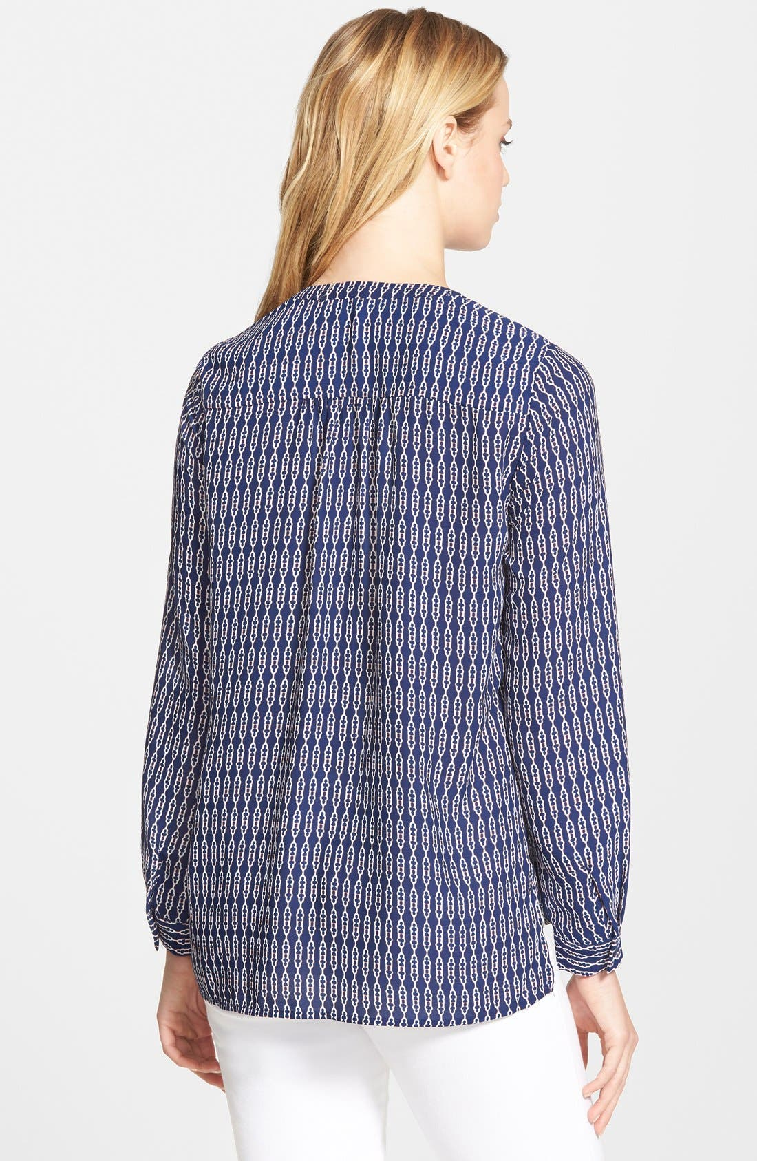 Shirred Shoulder Blouse,                             Alternate thumbnail 2, color,                             Navy Abstract Rope