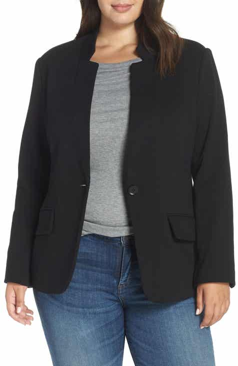 d12fc63abd1 Gibson Inverted Notch Collar Cotton Blend Blazer (Plus Size)