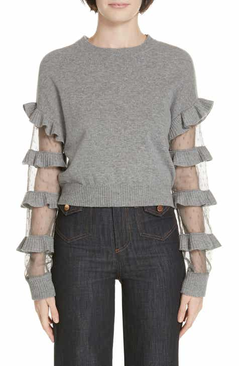 23e54ee89ea RED Valentino Ruffle Point d Esprit Panel Wool Sweater