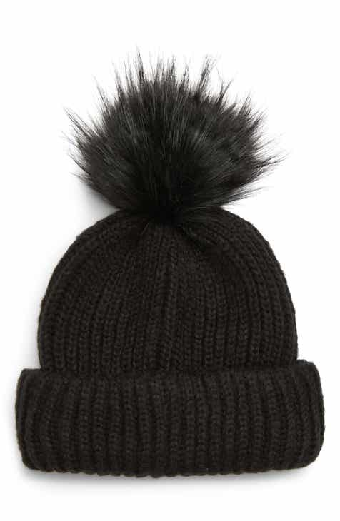 c542bec83d0 Slouchy Beanie with Pompom Ivory Black Knit Hat Black and