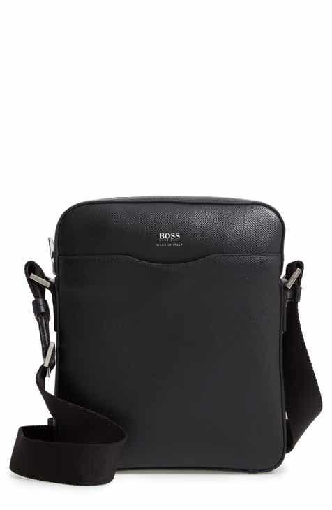 00501cb9d7 BOSS Signature Leather Reporter Bag