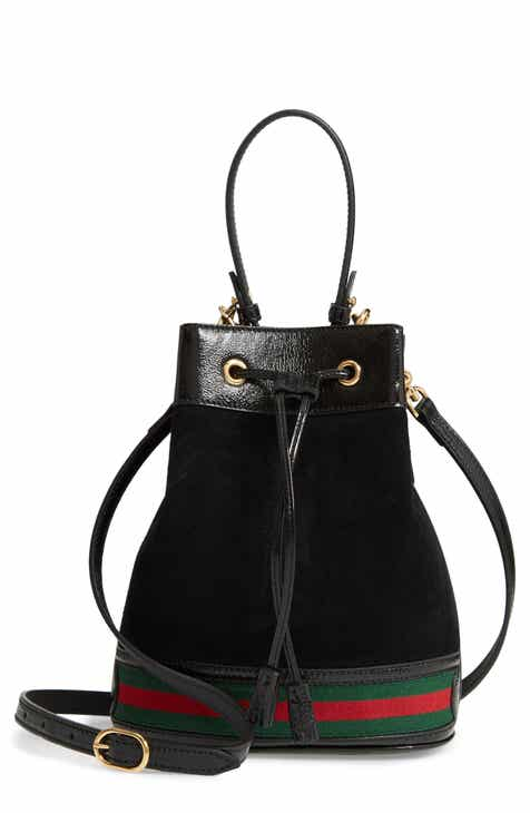 Gucci Small Ophidia Suede Leather Bucket Bag
