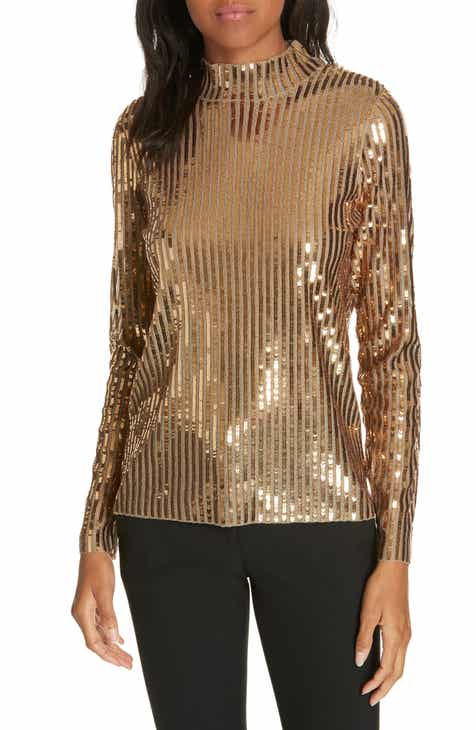 45a398162fe Tanya Taylor Grace Gold Sequins Top (Regular   Plus Size)