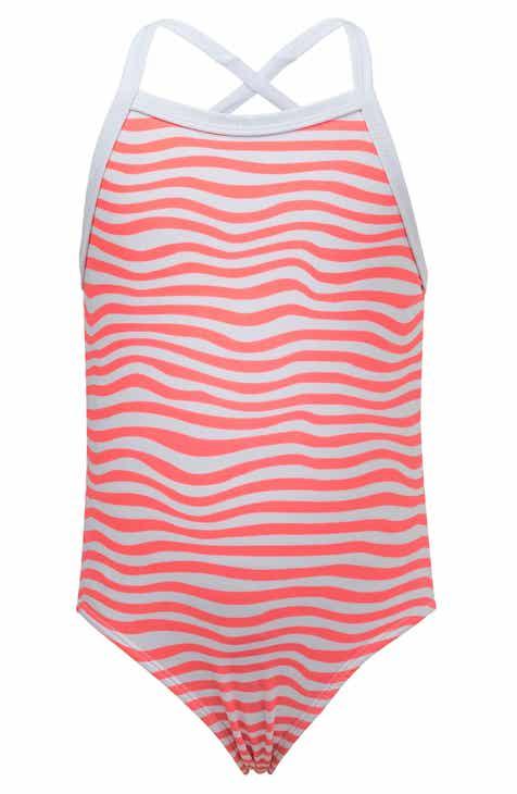 6adf65e718890 Snapper Rock Orange Crush Stripe One-Piece Swimsuit (Toddler Girls