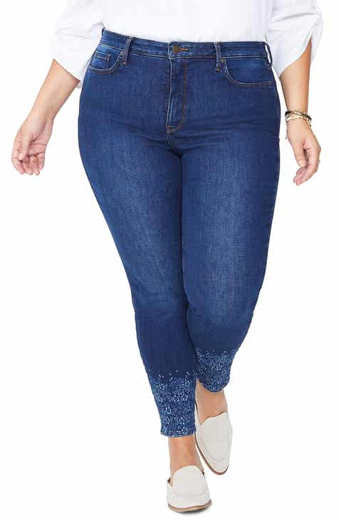 0f9bc793cb9 NYDJ Ami Floral Cuff High Waist Ankle Skinny Jeans (Cooper) (Plus Size)