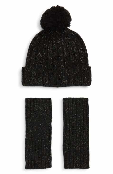 UGG® Shimmer Cable Knit Arm Warmers   Pom Beanie Set 7b55d42ed