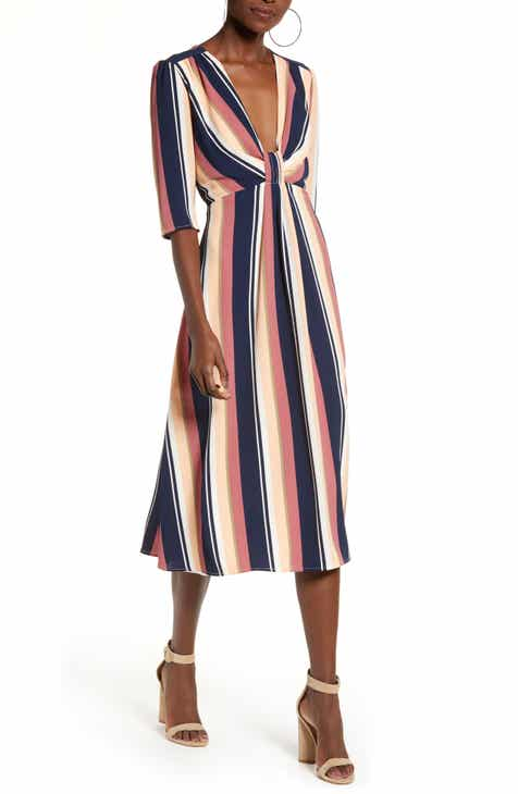 Leith Deep V-Neck Stripe Midi Dress by LEITH