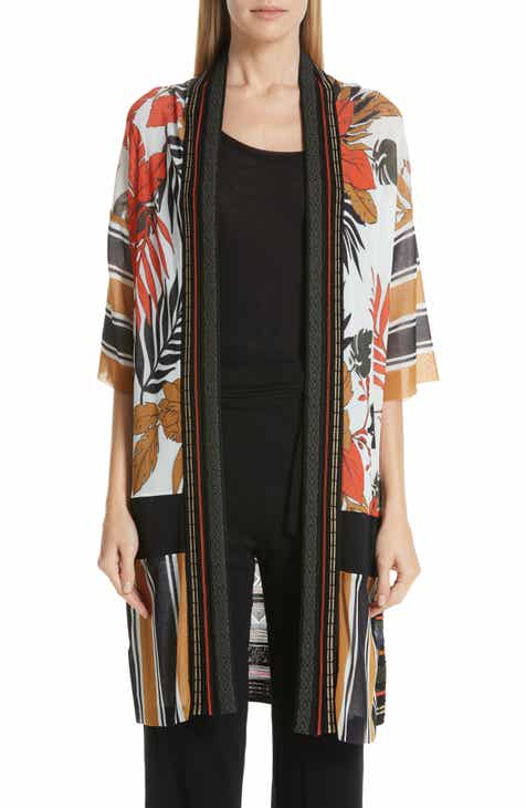 Fuzzi Mixed Print Tulle & Knit Cardigan by FUZZI