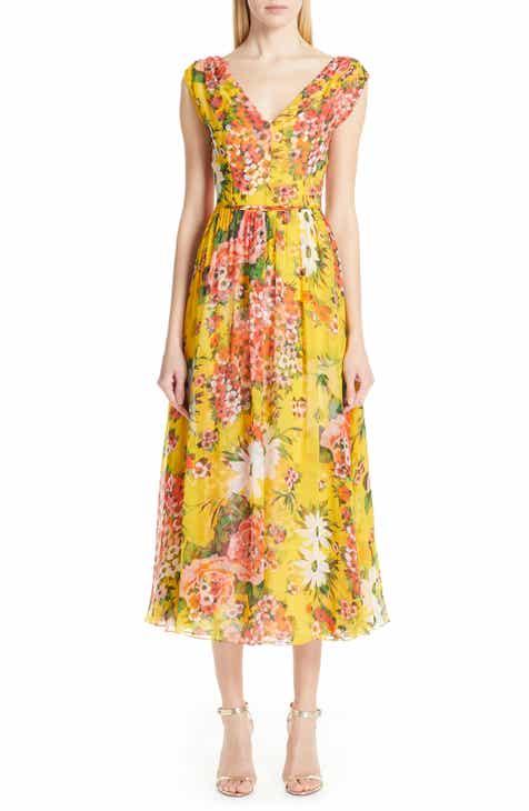 f0acb1d74d8 Carolina Herrera Floral Off the Shoulder Silk Midi Cocktail Dress