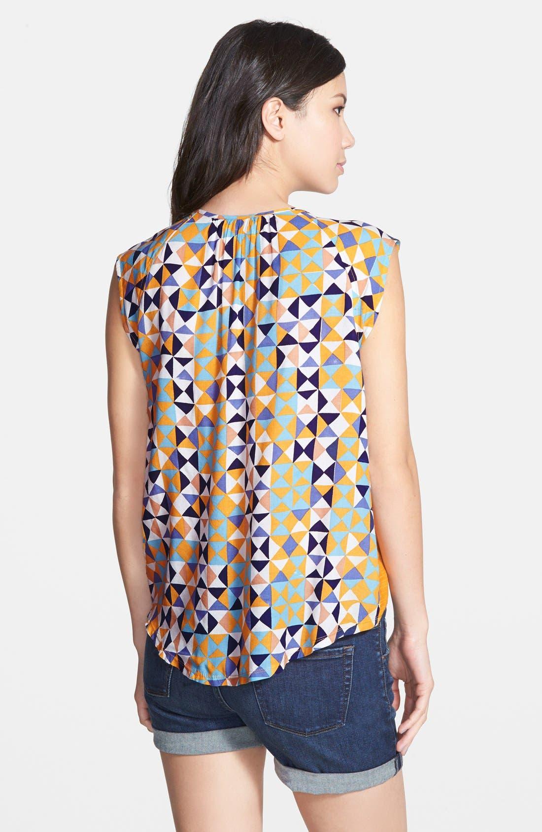 Alternate Image 2  - Hinge Cap Sleeve Print Top
