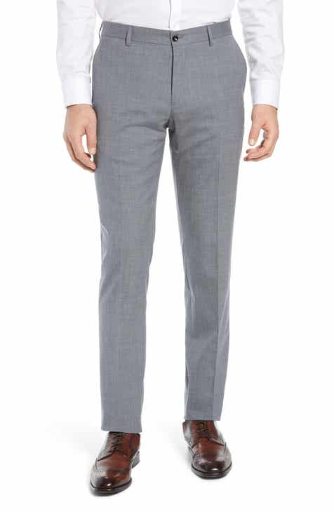 e760d50f45 Nordstrom Signature Flat Front Stretch Solid Wool   Linen Trousers