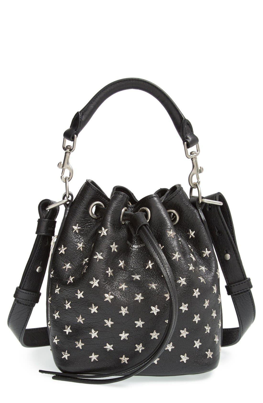 Main Image - Saint Laurent Studded Small Leather Bucket Bag