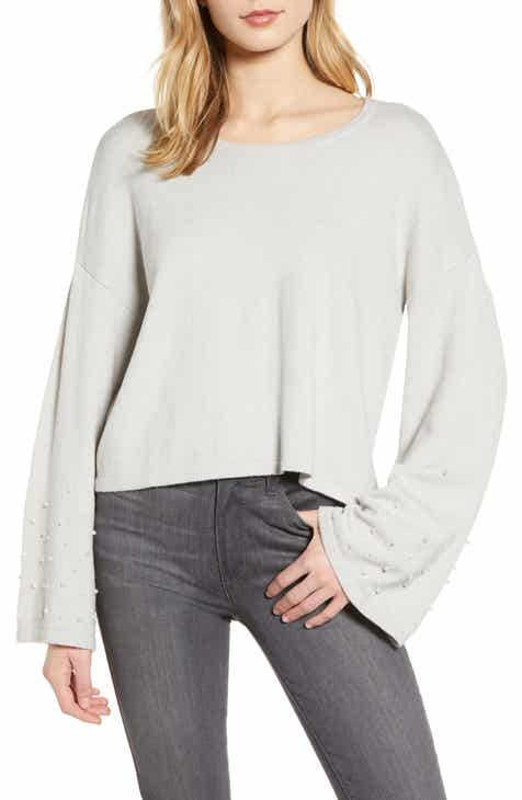 cupcakes and cashmere Imitation Pearl Embellished Bell Sleeve Crop Sweater by CUPCAKES AND CASHMERE