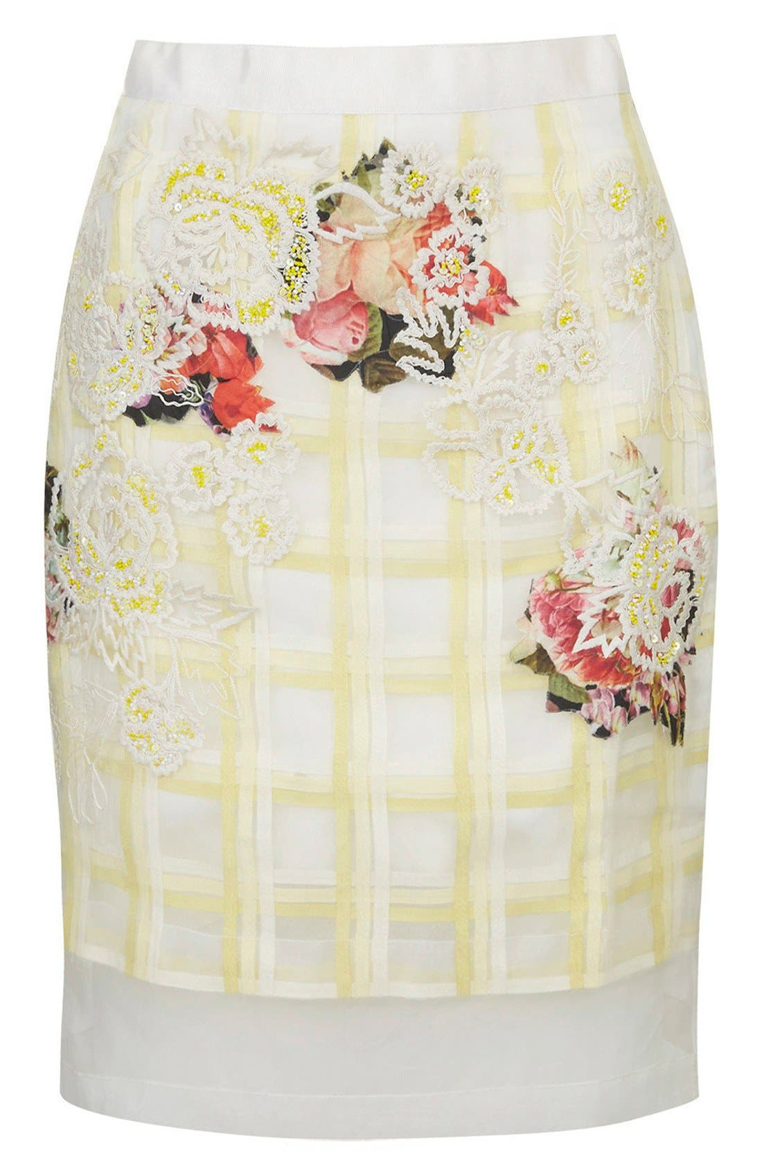 Alternate Image 4  - Topshop Flower Check A-Line Skirt (Limited Edition)